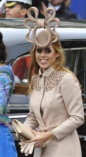 Princess Beatrice is seen arriving at Westminster Abbey before the wedding of Britain's Prince William and Kate Middleton in central London in this April 29, 2011 file photograph. REUTERS/Toby Melville/Files
