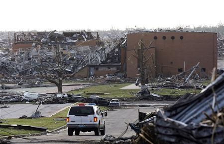 A view of the destruction at Joplin High School after a devastating tornado hit Joplin, Missouri May 23, 2011. REUTERS/Mike Stone