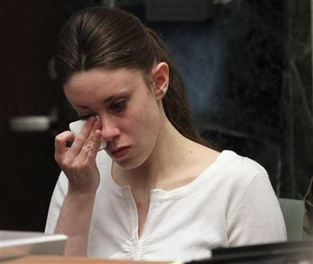 Casey Anthony cries during her murder trial at the Orange County Courthouse in Orlando, Florida, May 24, 2011. REUTERS/Red Huber/Pool