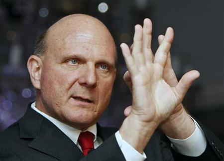Microsoft Chief Executive Officer (CEO) Steve Ballmer gestures as he speaks during the CII Cloud Summit - Enabling Inclusive Innovation, in New Delhi May 26, 2011. Microsoft Corp's board stood behind CEO Ballmer on Thursday, defending its longtime leader after influential hedge fund manager David Einhorn touched off a debate by calling for his dismissal. REUTERS/B Mathur