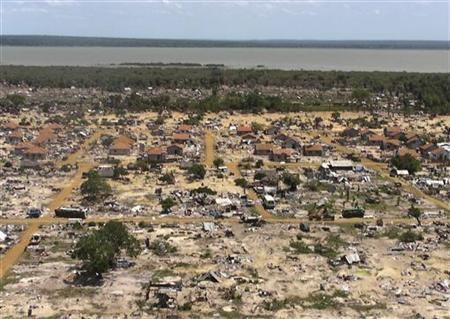 An aerial view of the former battlefront is seen from the helicopter carrying U.N. Secretary-General Ban Ki-moon during his visit to the refugee camp known as Manik Farm, on the outskirts of the northern Sri Lankan town of Vavuniya May 23, 2009. REUTERS/Louis Charbonneau