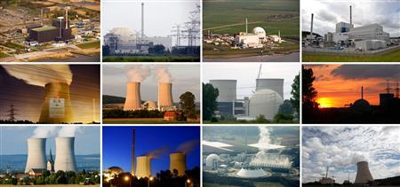 A combination of files pictures shows German nuclear power plants (top L to bottom right) in Brunsbuettel, Unterweser, Brokdorf, Kruemmel, Emsland, Grohnde, Biblis A, Biblis B, Grafenrheinfeld, Philippsburg, Neckarwestheim and Isar 1 and 2. Germany will shut all its nuclear reactors by 2022, leaders of its ruling coalition agreed May 30, 2011, in a reaction to Japan's Fukushima disaster that marks a drastic policy reversal and could still face stiff opposition. REUTERS/Staff/Files
