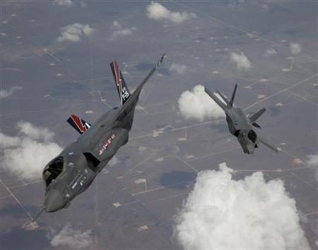 The F-35 Lightning II, also known as the Joint Strike Fighter (JSF), planes arrive at Edwards Air Force Base in California in this May 2010 file photo. REUTERS/Tom Reynolds/Lockheed Martin Corp/Handout