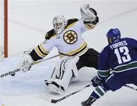 <p>Vancouver Canucks left wing Raffi Torres (13) scores a goal past Boston Bruins goalie Tim Thomas (30) during the third period of Game 1 of the NHL Stanley Cup hockey playoff game in Vancouver, British Columbia, June 1, 2011. REUTERS/Andy Clark</p>