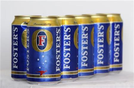 A six-pack of Foster's beer is seen in Melbourne in this February 15, 2011 photo illustration. REUTERS/Mick Tsikas