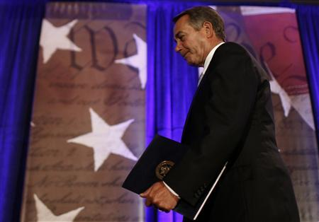 House Speaker John Boehner (R-OH) leaves after speaking at the Faith & Freedom Conference and Strategy Briefing in Washington, June 3, 2011. REUTERS/Molly Riley