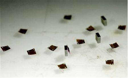 Ultra-thin microchips are seen in-between normal-sized chips during a presentation at the Fraunhofer-Institut for in Berlin July 11, 2007. REUTERS/Arnd Wiegmann