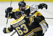 <p>Boston Bruins' Tim Thomas (R) is congratulated by teammates Johnny Boychuk (C) and Brad Marchand after they defeated the Vancouver Canucks in Game 3 of the NHL Stanley Cup hockey playoff in Boston, Massachusetts, June 6, 2011. REUTERS/Shaun Best</p>