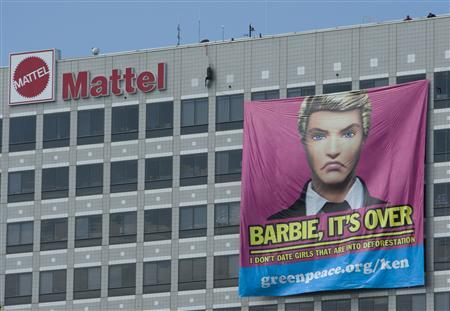 A banner hangs from the Mattel headquarters in El Segundo, California in this handout photo released by Greenpeace to Reuters June 7, 2011. REUTERS/Greenpeace/Handout