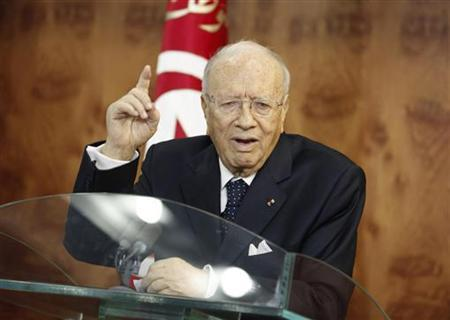 Tunisian interim prime minister Beji Caid Sebsi speaks during a news conference in Tunis March 4, 2011. REUTERS/Zoubeir Souissi