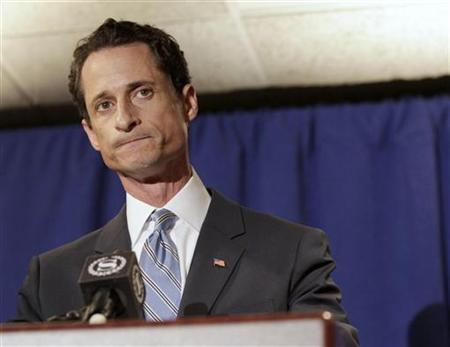 Congressman Anthony Weiner (D-NY) reacts as he speaks to the press in New York, June 6, 2011. REUTERS/Brendan McDermid