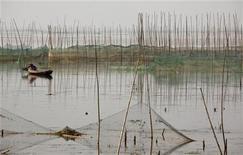 <p>Рыбак проверяет сети на озере близ провинции Хубэй, 29 мая 2011 года. По меньшей мере 34 человека погибли в результате проливных дождей, обрушившихся на две пострадавшие от засухи центральные провинции Китая, вызвав оползни и разрушив дома, передали государственные СМИ в пятницу. REUTERS/David Gray</p>