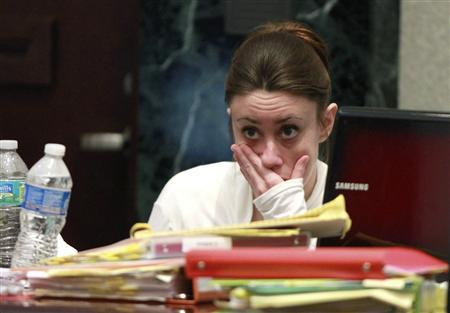 Casey Anthony reacts during testimony at her murder trial at the Orange County Courthouse in Orlando, Florida, June 9, 2011. REUTERS/Joe Burbank/Pool