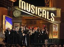 "<p>Cast members of the play ""Memphis"" perform after they won Best Musical at the American Theatre Wing's 64th annual Tony Awards ceremony in New York, June 13, 2010. REUTERS/Gary Hershorn</p>"