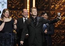 "<p>Trey Parker accepts the award for best musical for ""The Book of Mormon"" during the American Theatre Wing's 65th annual Tony Awards ceremony in New York, June 12, 2011. REUTERS/Gary Hershorn</p>"