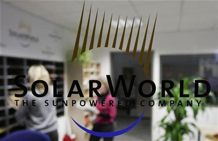 The logo of SolarWorld AG is pictured at the reception in a plant in Freiberg near Dresden in this December 17, 2008 file photo. REUTERS/Hannibal Hanschke