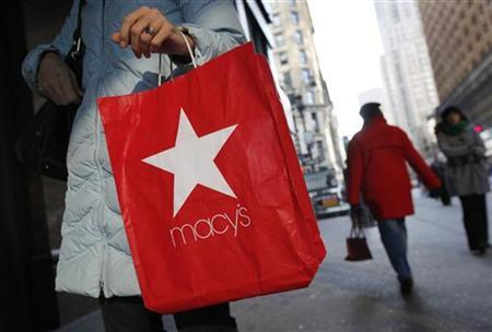 A woman holds a Macy's Inc shopping bag outside a store in New York January 7, 2010. REUTERS/Shannon Stapleton