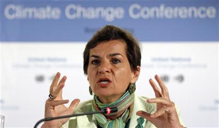 Christiana Figueres, Executive Secretary of the United Nations Framework Convention on Climate Change (UNFCCC) addresses a news conference in Bonn June 6, 2011. REUTERS/Ina Fassbender
