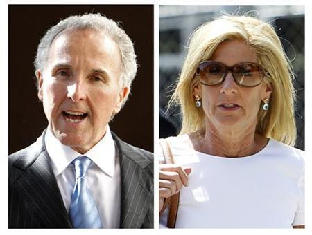 Los Angeles Dodgers owner Frank McCourt (L) and his ex-wife Jamie McCourt are shown in this combination of 2010 file photographs from their divorce trial in Los Angeles. REUTERS/Mario Anzuoni/Files