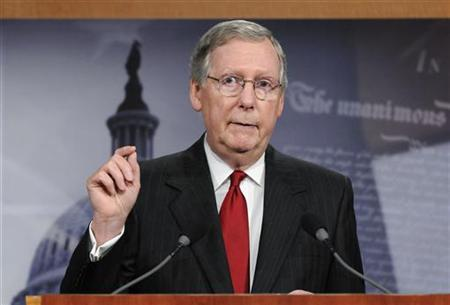 Senate Minority Leader Mitch McConnell (R-KY) makes a point about his meeting with President Barack Obama regarding the country's debt ceiling, during a news conference at the Capitol in Washington May 12, 2011. REUTERS/Jonathan Ernst
