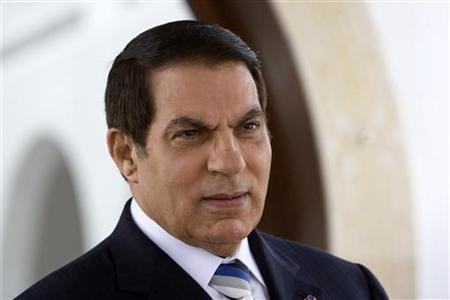 Former Tunisian President Zine El Abidine Ben Ali is seen at a Tunis airport in this April 30, 2008 file photo. REUTERS/Jacky Naegelen/Pool