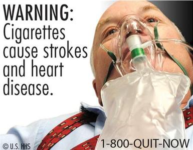 A new cigarette health warning from the FDA. REUTERS/Handout