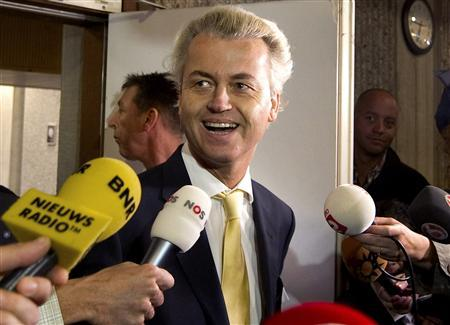 Dutch right-wing politician Geert Wilders of the Freedom Party leaves a courtroom in Amsterdam June 23, 2011. REUTERS/Toussaint Kluiters/United Photos