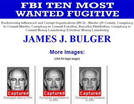 Images of accused Boston crime boss James ''Whitey'' Bulger, including some that are age enhanced, are seen in this June 23, 2011 screen grab taken from FBI's Most Wanted website. On the run for 17 years, Bulger and his longtime girlfriend were finally caught in California by the Federal Bureau of Investigation on Wednesday. REUTERS/FBI/Handout