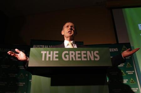 Leader of the Australian Greens party, Senator Bob Brown, gestures during a speech at the party's federal election campaign launch event in Canberra August 1, 2010. REUTERS/Tim Wimborne