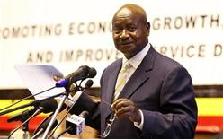 <p>Uganda?s President Yoweri Museveni speaks at the presentation of the Government Budget for the year 2011/2012 at the Serena conference center in the capital Kampala, June 8, 2011. REUTERS/Edward Echwalu</p>