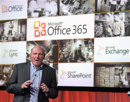 Microsoft CEO Steve Ballmer speaks at the launch of the company's Microsoft 365 cloud service in New York, June 28, 2011. REUTERS/Ray Stubblebine