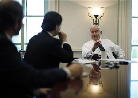 Defense Secretary Robert Gates speaks with Reuters correspondents,during his final interview as Defense Secretary at the Pentagon near Washington, June 29, 2011. Gates will be replaced by former CIA Director Leon Panetta. REUTERS/Jason Reed
