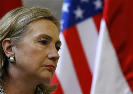 U.S. Secretary of State Hillary Clinton attends a joint news conference with Hungarian Prime Minister Viktor Orban (not pictured) in Budapest June 30, 2011. REUTERS/Bernadett Szabo