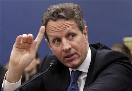 Treasury Secretary Timothy Geithner gestures as he testifies before the House Committee on Small Business on Capitol Hill in Washington June 22, 2011. REUTERS/Yuri Gripas