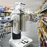<p>A robot shops for groceries in an image courtesy of the Technical University in Munich. REUTERS/Astrid Eckert/TUM</p>