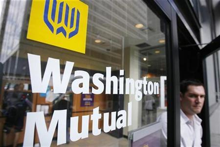 A man leaves a branch of Washington Mutual in the financial district of New York, in this September 19, 2008 file photo. REUTERS/Lucas Jackson/Files
