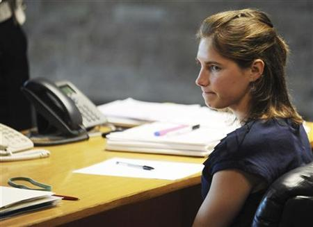 Amanda Knox, the U.S. student convicted of killing her British flatmate in Italy three years ago, attends a trial session in Perugia June 27, 2011. REUTERS/Stringer