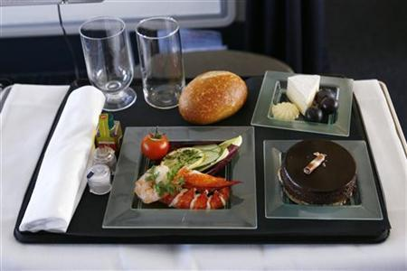 OpenSkies Airline food menu at Washington Dulles International Airport in Dulles, Virginia, March 24, 2010. REUTERS/Hyungwon Kang