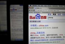 <p>Foto de archivo del sitio web de Baidu visto desde un ordenador portátil en Shanghái, China, dic 15 2010. Baidu, el principal motor de exploración en internet de China, dijo el lunes que había firmado un acuerdo con Bing de Microsoft para ofrecer búsquedas en lengua inglesa a los usuarios de Baidu. REUTERS/Carlos Barria</p>