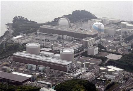 An aerial view shows Kyushu Electric Power's Genkai nuclear power plant, in Genkai town, Saga Prefecture, in this picture taken by Kyodo on June 9, 2011. REUTERS/KYODO