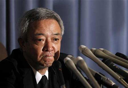 Japan's newly appointed reconstruction minister Ryu Matsumoto speaks at a news conference after resigning his post, in Tokyo July 5, 2011. REUTERS/Yuriko Nakao