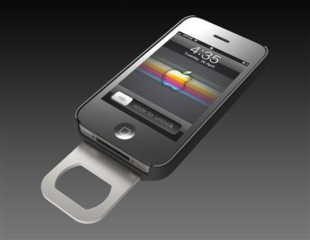 The ''Opena'', a hard plastic case that fits over the iPhone and is equipped with a slide-out bottle opener, is shown in this publicity image obtained on July 7, 2011. REUTERS/Handout