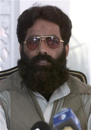 Ilyas Kashmiri, leader of Harkat-ul-Jehad Islami, from one of about a dozen guerrilla organisations fighting Indian rule in Kashmir, speaks during a news conference in Islamabad July 11, 2001. Reuters/file