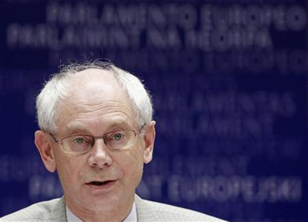 European Council President Herman Van Rompuy addresses the European Parliament, on the conclusions of last week's European Union leaders summit, in Brussels June 28, 2011. REUTERS/Thierry Roge