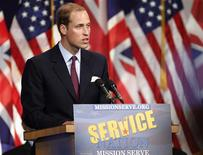 <p>Britain's Prince William speaks at the Mission Serve: Hiring Our Heroes event in Culver City, California July 10, 2011. Prince William and his wife Catherine are on a royal visit to California from July 8 to July 10. REUTERS/Danny Moloshok</p>