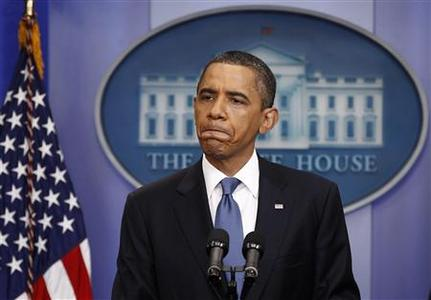 President Obama holds a news conference on debt negotiations with Congress in the briefing room of the White House, July 11, 2011. REUTERS/Kevin Lamarque