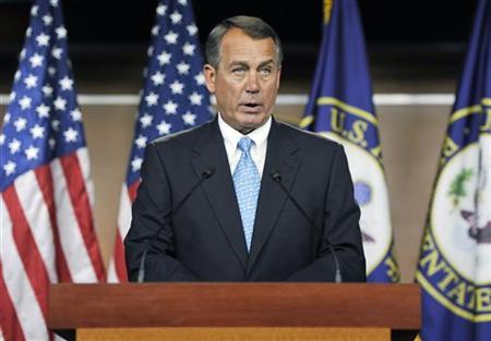 U.S. House Speaker John Boehner (R-OH) holds a news conference about talks aimed at averting a looming U.S. debt default, at the U.S. Capitol in Washington, July 11, 2011. REUTERS/Jonathan Ernst