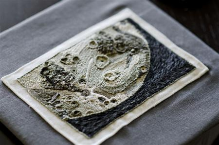 A photo of this crochet and embroidered moonscape is aboard Space Shuttle Atlantis. The artist, Houstonian Rachel Hobson, won a contest and saw her art blasted into space on July 8, 2011. REUTERS/Rachel Hobson/Handout