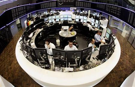 The trading floor of Frankfurt's stock exchange is seen in a wide-angle picture during morning trading session July 7, 2011. REUTERS/Kai Pfaffenbach