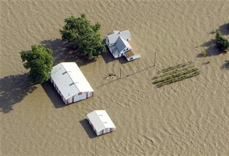 An aerial view of a farm near Rock Port, Missouri submerged in Missouri River flood waters June 24, 2011. REUTERS/Lane Hickenbottom